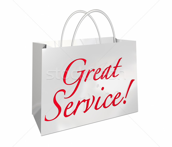 Great Service Shopping Bag Customer Satisfaction Words 3d Illust Stock photo © iqoncept