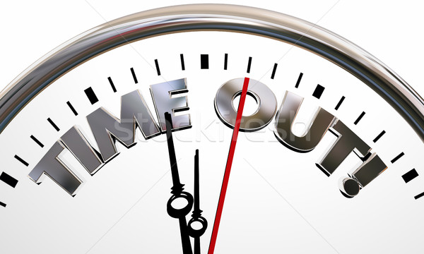 Time Out Pause Break Intermission Rest Clock Words 3d Illustrati Stock photo © iqoncept