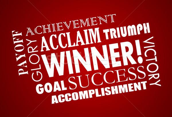 Vincitore successo obiettivo raggiunto vittoria parola Foto d'archivio © iqoncept