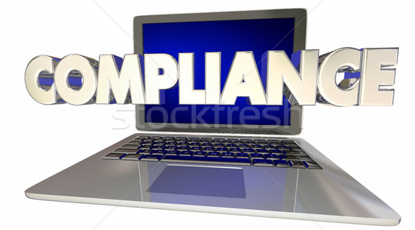 Stock photo: Compliance Laptop Computer Rules Online Laws Regulations 3d Illu