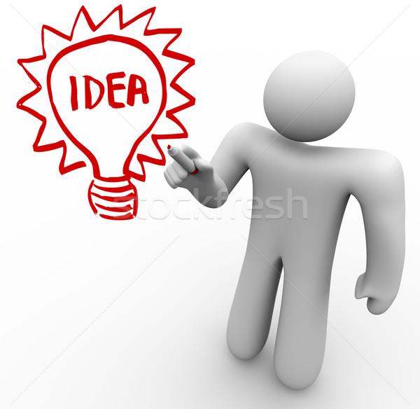 Photo stock: Brainstorming · personne · idée · ampoule · verre · bord