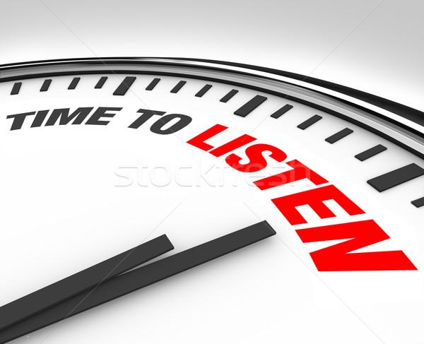 Zeit hören Worte Uhr weiß Stock foto © iqoncept