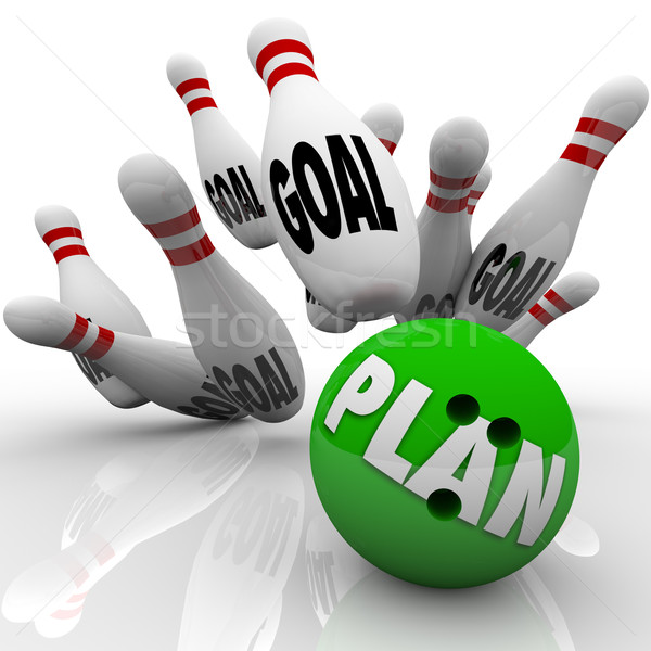 Plan Bowling Ball Hits Goal Pins Goals Accomplished Stock photo © iqoncept