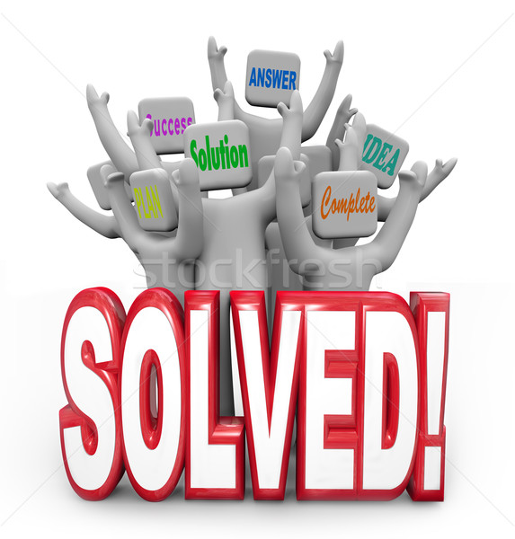 Solved People Cheering Solution Answer Plan Goal Achieved Stock photo © iqoncept