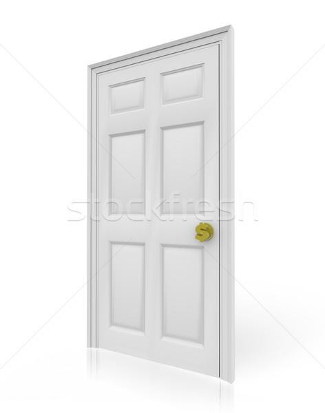 Ajtó dollárjel ajtóküszöb forma ösvény pénzügyi Stock fotó © iqoncept