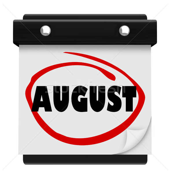 August Word Wall Calendar Change Month Schedule Stock photo © iqoncept