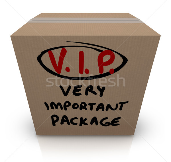 VIP Very Important Package Cardboard Box Shipment Stock photo © iqoncept
