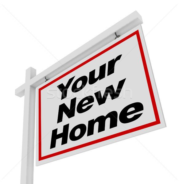 új otthon vásár felirat ingatlan ház szavak Stock fotó © iqoncept