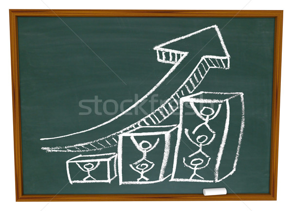 Team Pushing Up Arrow on Chalkboard Stock photo © iqoncept