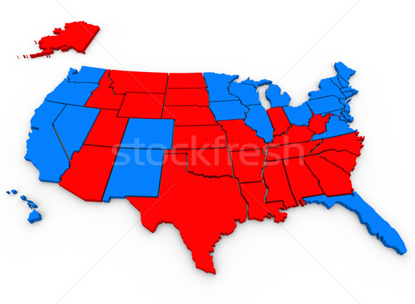 Stock photo: Red Vs Blue United States America Map Presidential Election