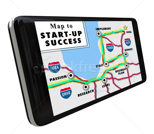 Road Map Start-Up Success Directions Navigation System GPS Stock photo © iqoncept