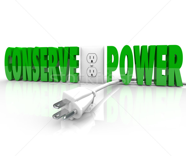 Conserve Power Electrical Cord Plug Save Energy Conservation Stock photo © iqoncept
