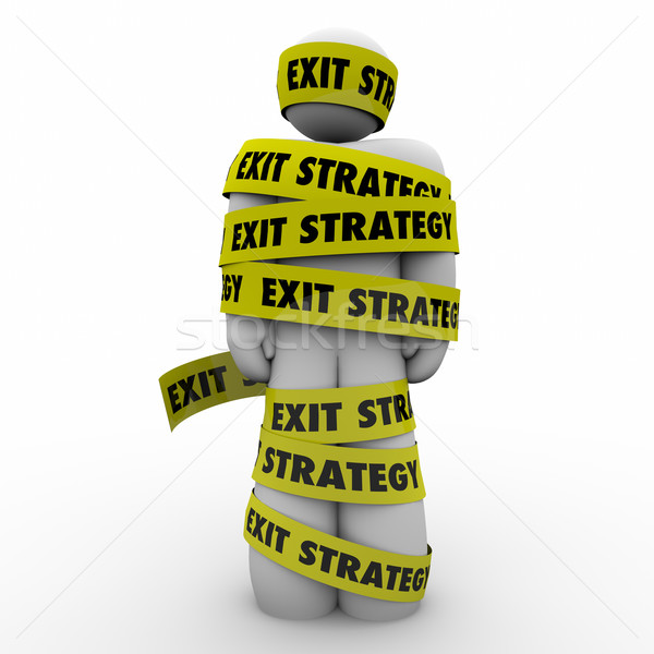 Exit Strategy Man Person Wrapped Caught Yellow Tape Escape Plan Stock photo © iqoncept