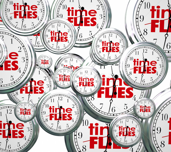 Time Flies 3d Clocks Words Future Past Present Speed Concept Stock photo © iqoncept