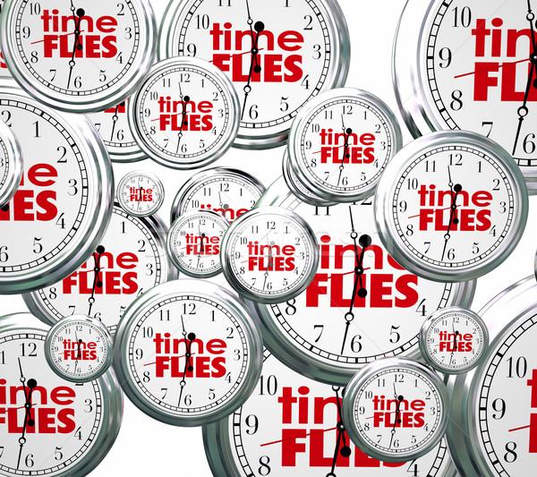 Idő 3D órák szavak jövő múlt Stock fotó © iqoncept