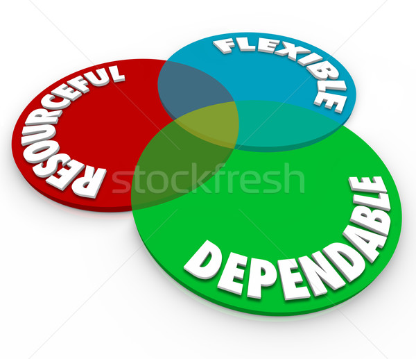Dependable Resourceful Flexible 3d Words Venn Diagram Stock photo © iqoncept