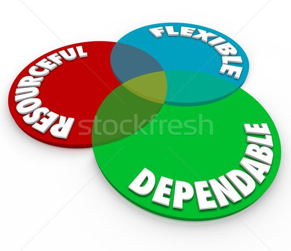 Flexibele 3D woorden diagram illustreren werknemer Stockfoto © iqoncept