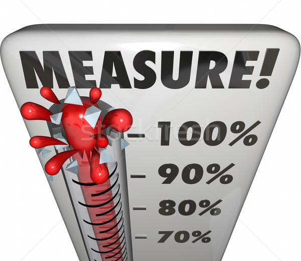 Measure Word Thermometer Level Rating Rising Increase Goal Stock photo © iqoncept