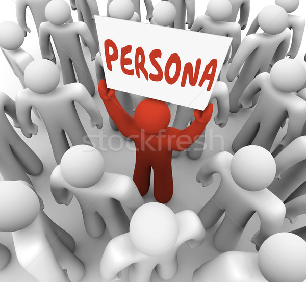 Persona Man Holding Sign Unique Customer Background Needs Stock photo © iqoncept