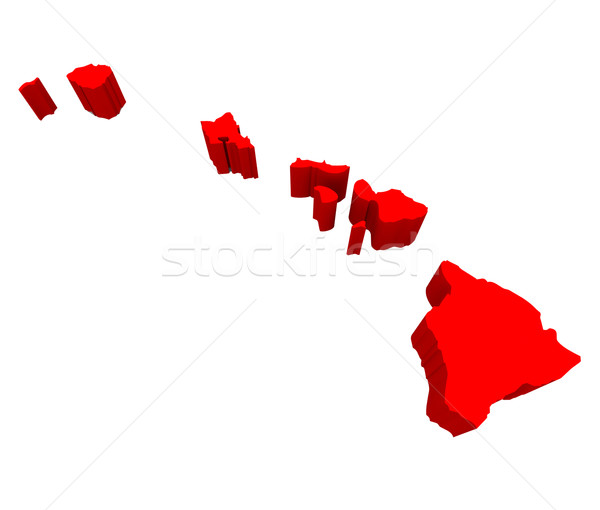 Hawaii HI USA State Red Map Stock photo © iqoncept