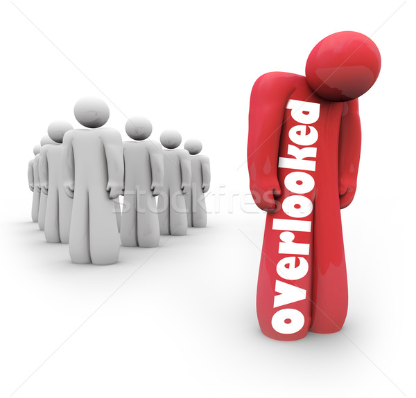 Overlooked Person 3d Figure Man Left Out Isolated Alone Rejected Stock photo © iqoncept