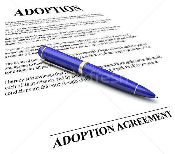 Adoption Agreement Contract Pen Signing Official Legal Document Stock photo © iqoncept