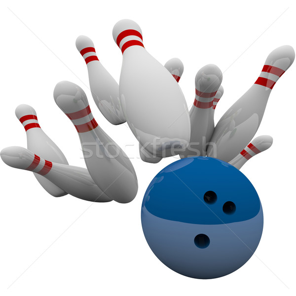 Blue Bowling Ball Striking Pins Winning Success Game Stock photo © iqoncept