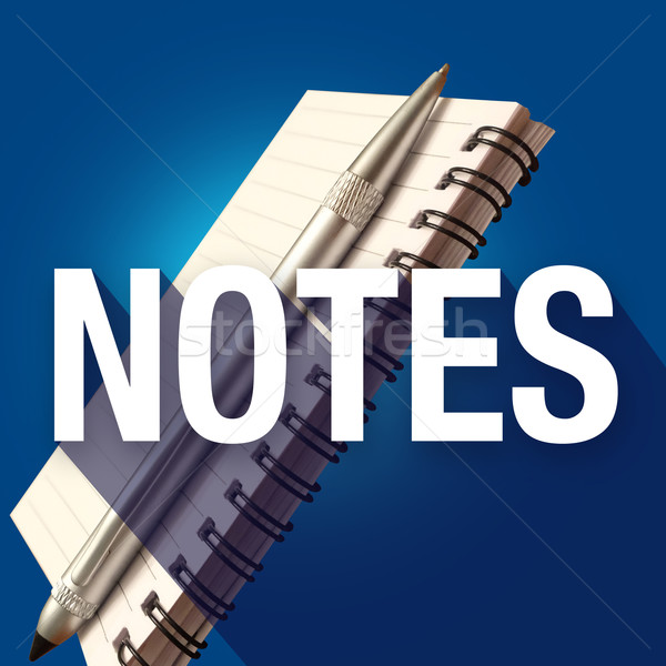 Notes Notepad Word Long Shadow Take Write Important Reminders Pe Stock photo © iqoncept