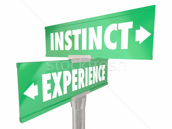 Instinct Vs Experience Gut Feeling Learned Knowledge 2 Two Way S Stock photo © iqoncept