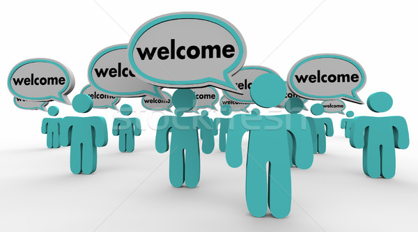 Welcome People Speech Bubbles New Arrival Words 3d Illustration Stock photo © iqoncept
