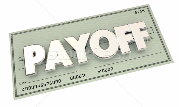 Payoff Check Money Final Last Payment 3d Illustration Stock photo © iqoncept