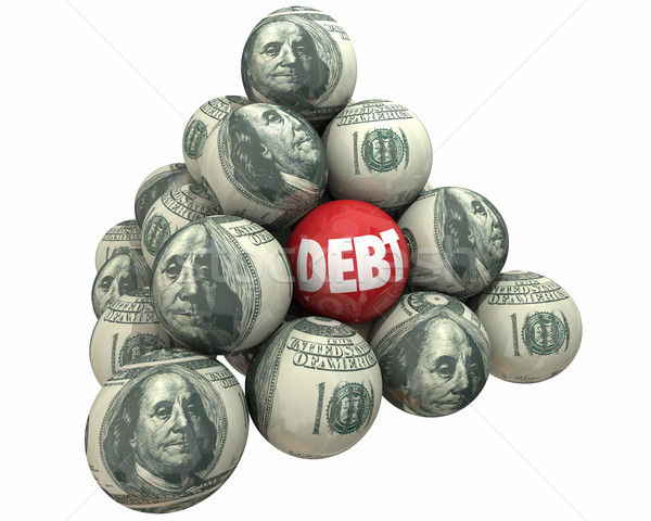 Deuda dinero déficit préstamo pelota pirámide Foto stock © iqoncept