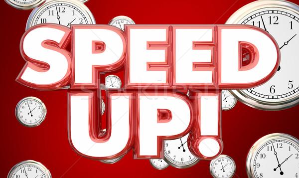 Foto stock: Acelerar · para · cima · relógios · tempo · palavras · ilustração · 3d