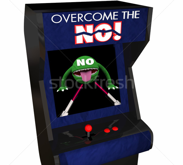 Overcome the No Beat Objection Persuasion Arcade Game 3d Illustr Stock photo © iqoncept