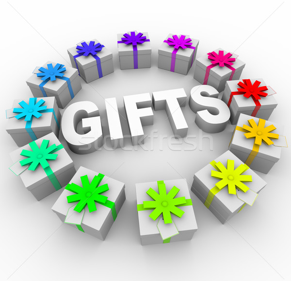 Gifts - Presents in Circle Around Word Stock photo © iqoncept