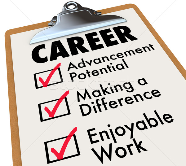 Career Checklist Priorities Goals Objectives in Work Profession Stock photo © iqoncept