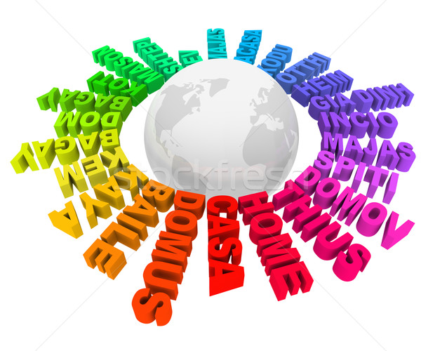 Home Words Different Languages Cultures Around World Stock Photo - How many languages on earth