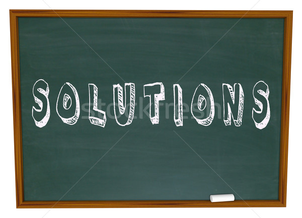 Solutions Chalkboard Chalk Word Answers New Ideas Stock photo © iqoncept