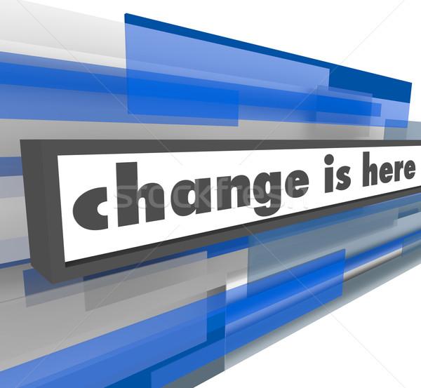 Değiştirmek burada soyut mavi bar mesaj Stok fotoğraf © iqoncept