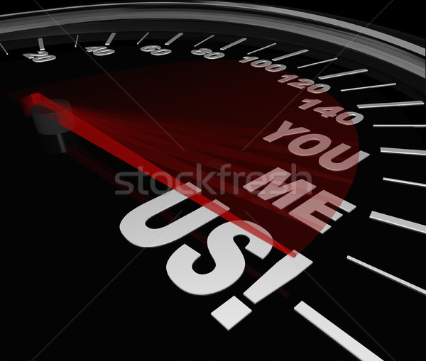 You Me Us Speedometer Together Teamwork Partnership Stock photo © iqoncept