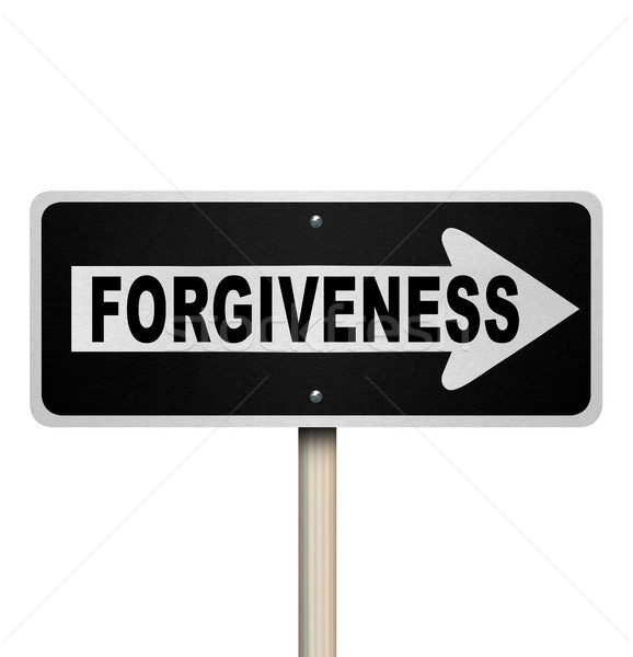 Stock photo: Forgiveness One-Way Road Sign Looking for Redemption