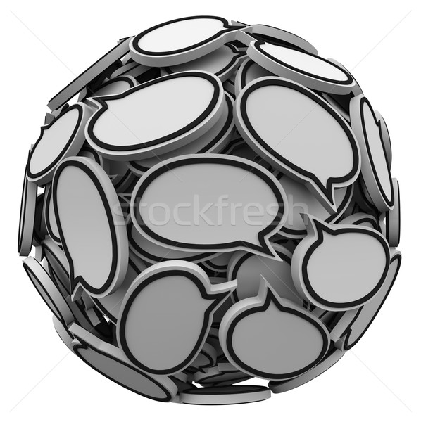Many Speech Bubbles in a Sphere Cluster Talking Feedback Stock photo © iqoncept