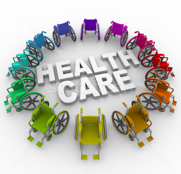 Wheelchairs in Ring Around Health Care Words Stock photo © iqoncept