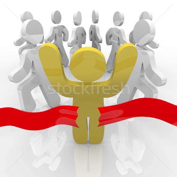 Zwycięzca krzyże zwycięski runner Zdjęcia stock © iqoncept