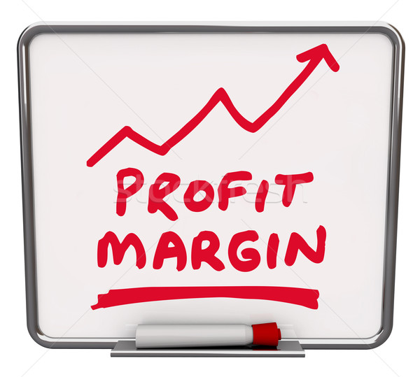 Profit Margin Words Dry Erase Board Arrow Up Growing Net Earning Stock photo © iqoncept