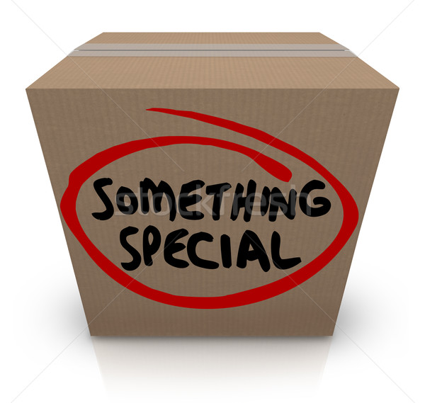 Something Special Cardboard Box Gift Delivery Unique Contents Stock photo © iqoncept