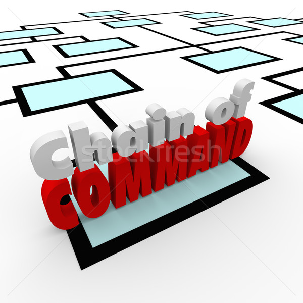 Chain of Command Words Organization Chart Company Personnel Staf Stock photo © iqoncept