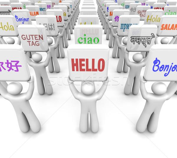 Hallo woorden verschillend talen groet wereld Stockfoto © iqoncept