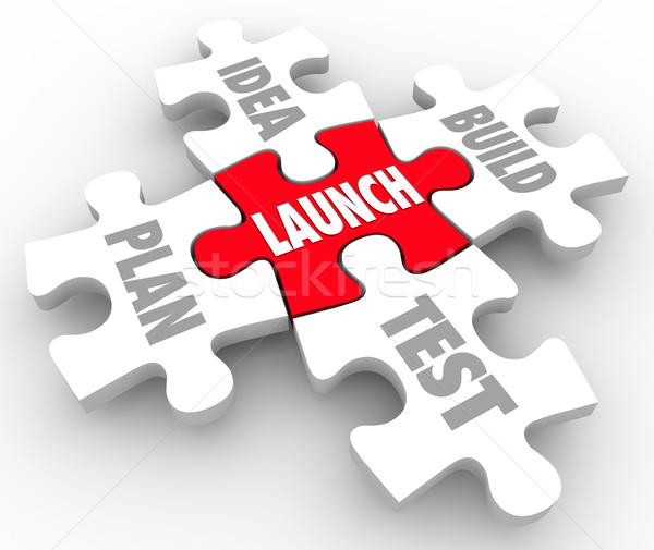 Launch Puzzle Pieces Idea Build Plan Test Starting New Business Stock photo © iqoncept