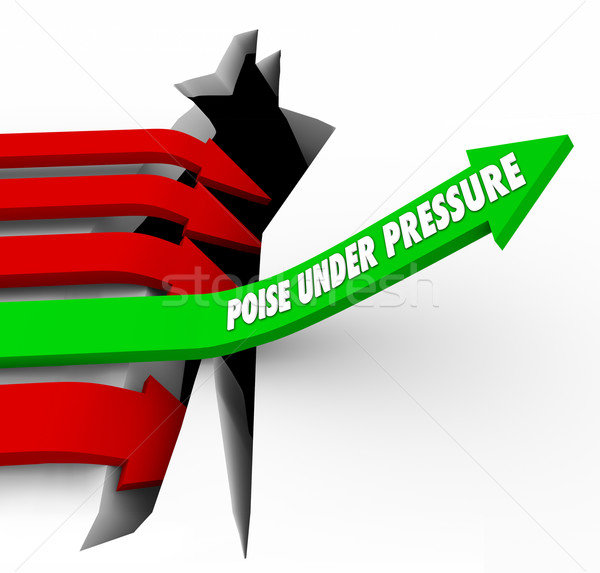 Poise Under Pressure Arrow Rises Over Hole Overcoming Challenge Stock photo © iqoncept